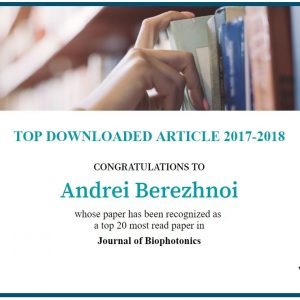 5 January 2019: Berezhnoi et al. 2018 recognized by Wiley Publishing